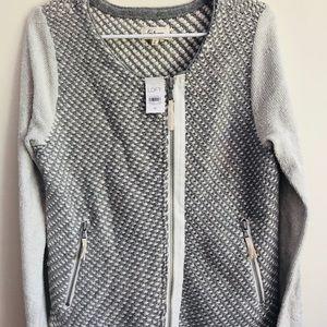 LOU & GREY LOFT Moto Zip Sweater Jacket Size M